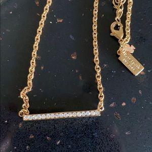 Kate Spade cz Bar Necklace Gold Tone